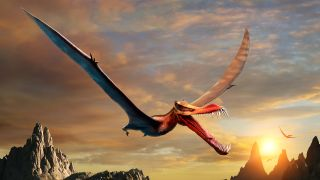 An artist's rendition of an anhanguerian pterosaur. This group of crested and toothed flying reptiles includes the new species Thapunngaka shawi.