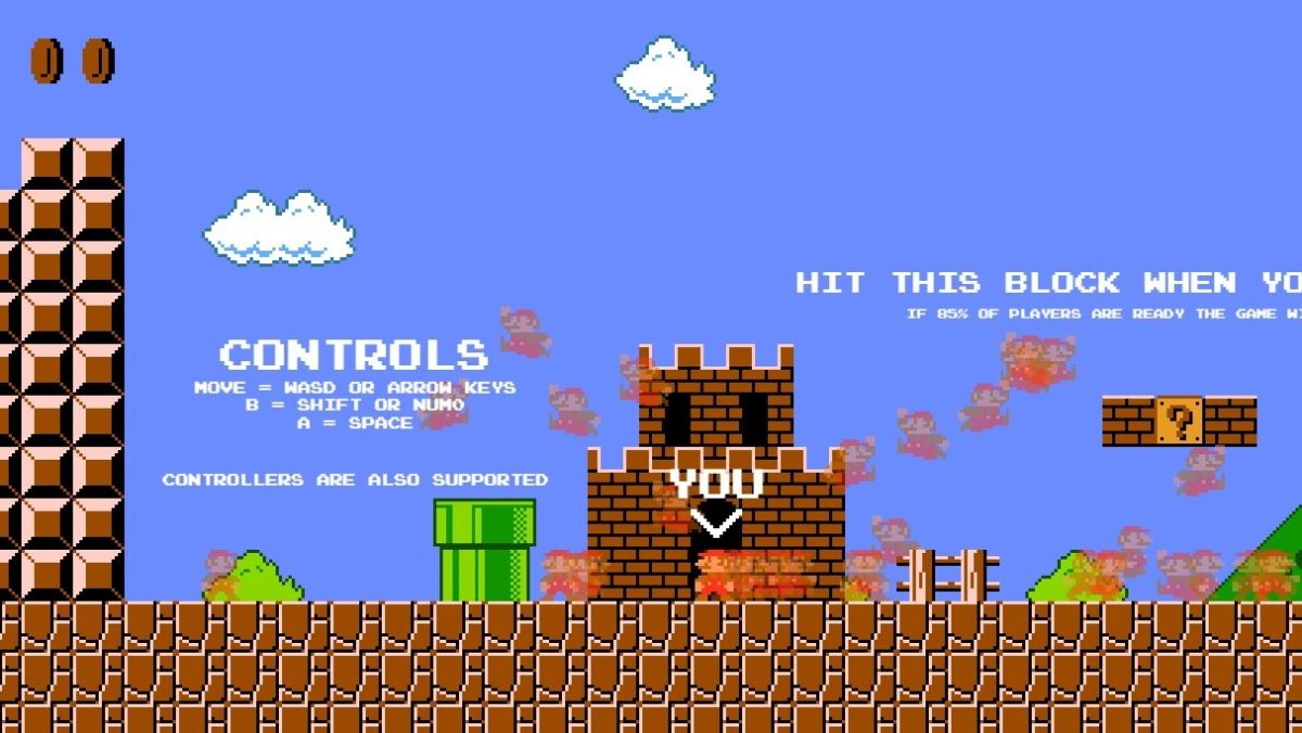 This Super Mario battle royale game challenges you to outrun 74 other Marios