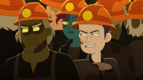 Brad Boimler and a miner in 'Star Trek: Lower Decks'.