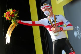 GRAND COLOMBIER FRANCE SEPTEMBER 13 Podium Tadej Pogacar of Slovenia and UAE Team Emirates Celebration during the 107th Tour de France 2020 Stage 15 a 1745km stage from Lyon to Grand Colombier 1501m TDF2020 LeTour on September 13 2020 in Grand Colombier France Photo by Thibault Camus PoolGetty Images
