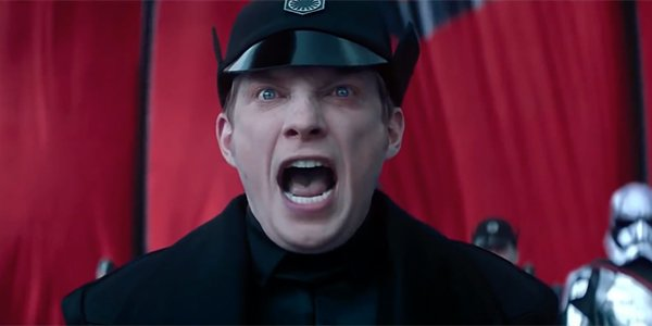 General Hux screaming to his troops before Starkiller Base is activated