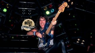 Steve Harris during Iron Maiden's World Piece Tour in 1983