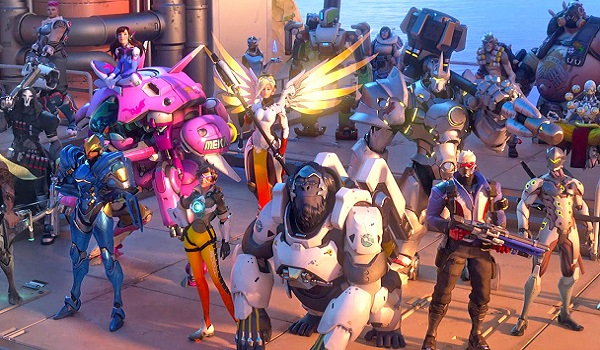 Overwatch heroes stand in a big group