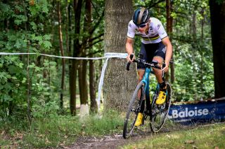 Junior cycle-cross world champion Thibau Nys en route to victory at the 2020 Battle of Balenberg
