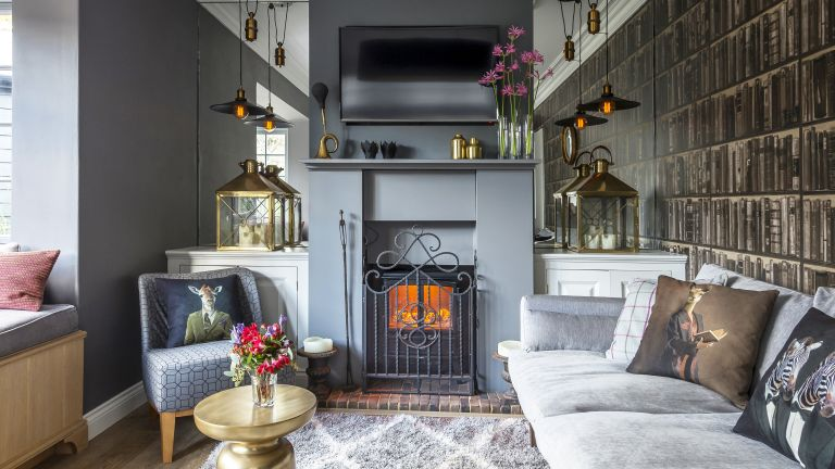 grey living room in a modernised Edwardian cottage