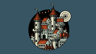 A digital illustration of a castle picked out with a hatched Illustrator brush