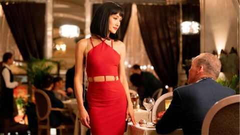 Maggie Q and Michael Keaton in 'The Protégé'.