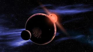 An artist's depiction of an exoplanet with two moons.