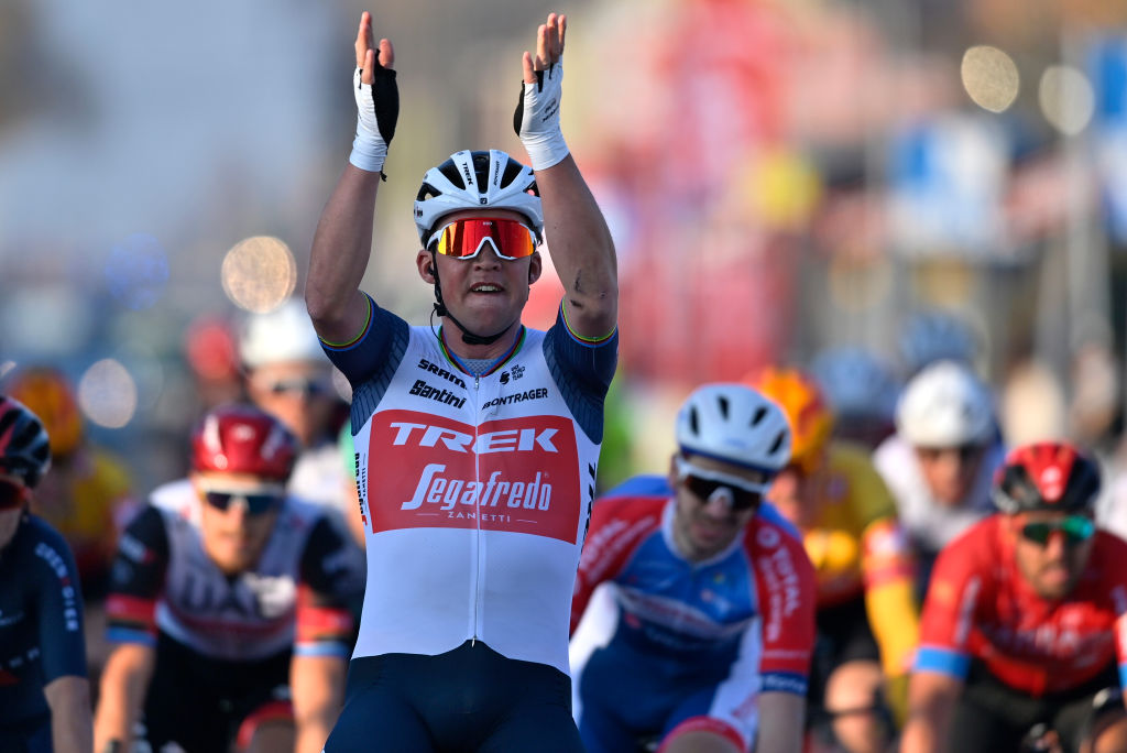 Danish Mads Pedersen of TrekSegafredo celebrates as he wins the KuurneBrusselsKuurne one day cycling race 197 km from Kuurne to Kuurne via Brussels Sunday 28 February 2021 BELGA PHOTO ERIC LALMAND Photo by ERIC LALMANDBELGA MAGAFP via Getty Images