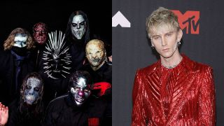 A composite image of Slipknot and Machine Gun Kelly