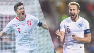 Poland vs England live stream – Robert Lewandowski of Poland and Harry Kane of England