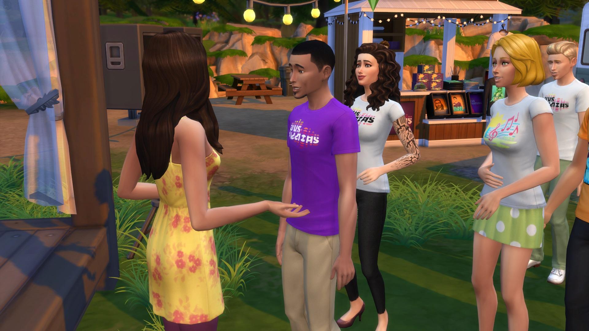 Female sim with long brown hair and yellow dress talking to male sim with purple t-shirt. Another female Sim, with curly brown hair and wearing a tshirt and jeans is trying to talk to the first female but the man stands between them.