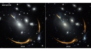 Two Hubble images show the galaxy cluster MACS J0138. In the 2016 image, light from the ancient Supernova Requiem appears in three different spots simultaneously on the edge of the cluster (circled in white). In the 2019 image, they are gone.