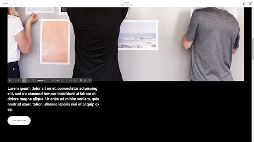 Squarespace's website editor in use