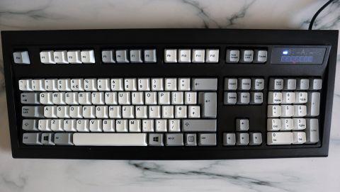 Unicomp New Model M keyboard on a countertop