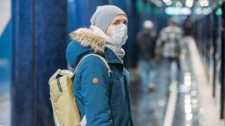 Man wearing a face mask, coronavirus.