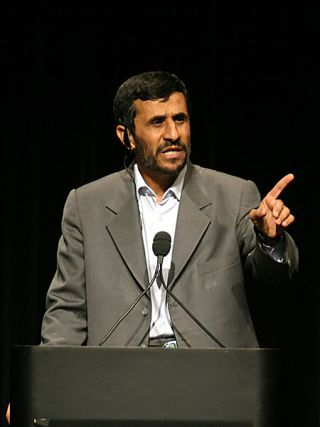 Iranian President Mahmoud Ahmadinejad speaking at Columbia University during a rare visit to the West in 2007.