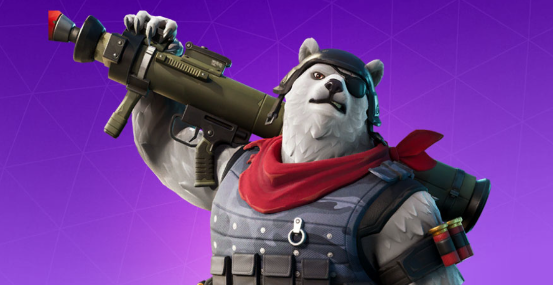 A Fortnite skin for a polar bear with an eye patch