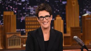 """Rachel Maddow Visits """"The Tonight Show Starring Jimmy Fallon"""" at Rockefeller Center on March 15, 2017 in New York City."""
