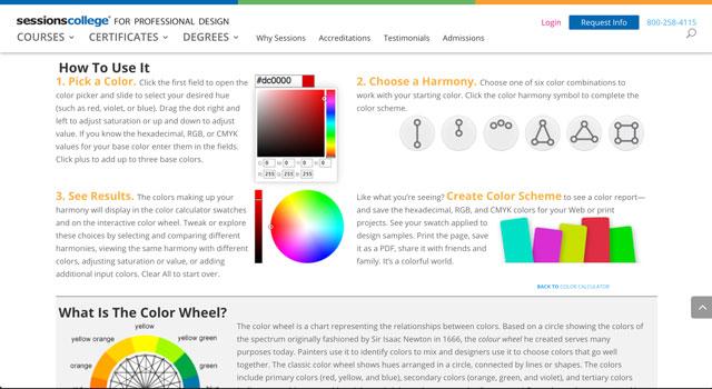 Colour Calculator instruction screen