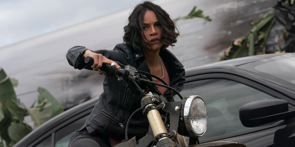 F9 Michelle Rodriguez as Letty on a motorcycle