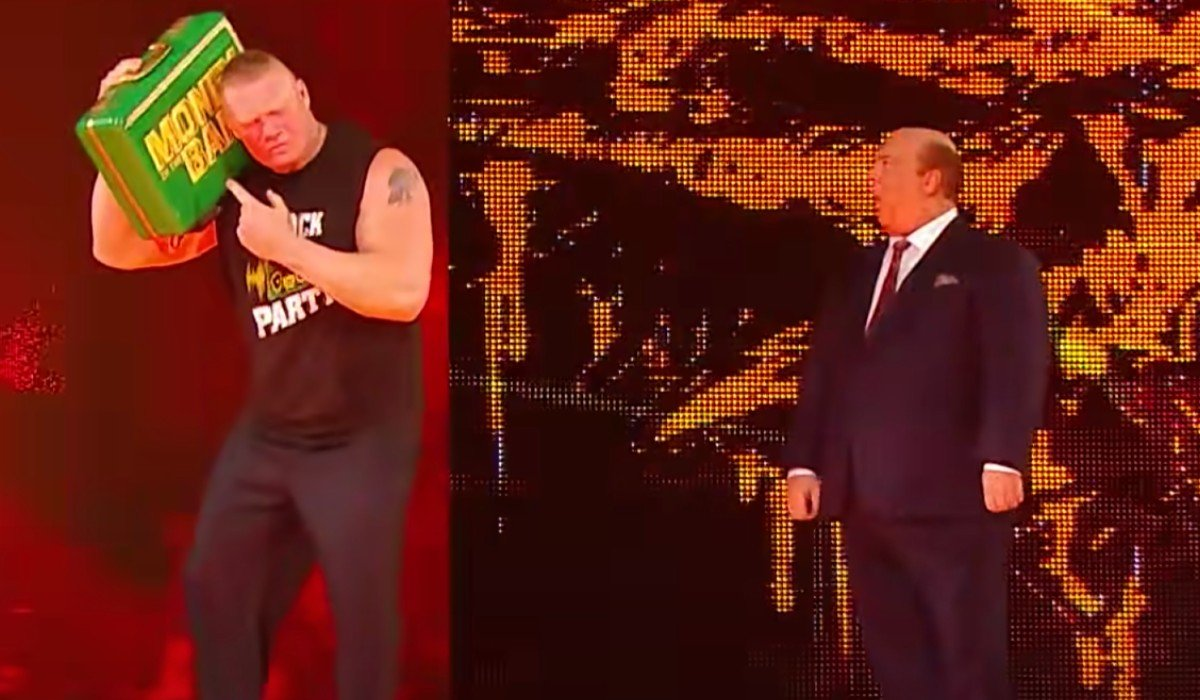 Brock Lesnar treating the Money in the Bank briefcase like a boom box while Paul Heyman is amazed WWE