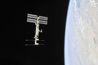 The International Space Station seen in orbit around Earth in 2018.