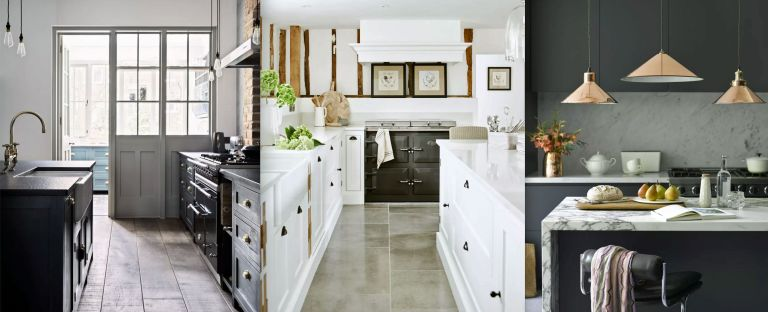 Three examples of black and white kitchen ideas.