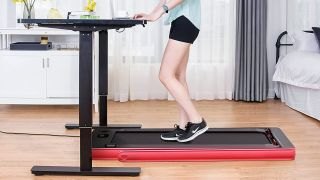 best under desk treadmills: Woman using treadmill while working at standing desk