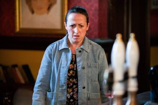 Sonia Fowler is in shock in EastEnders