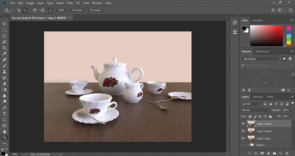 Photoshop screen with an image of a teapot
