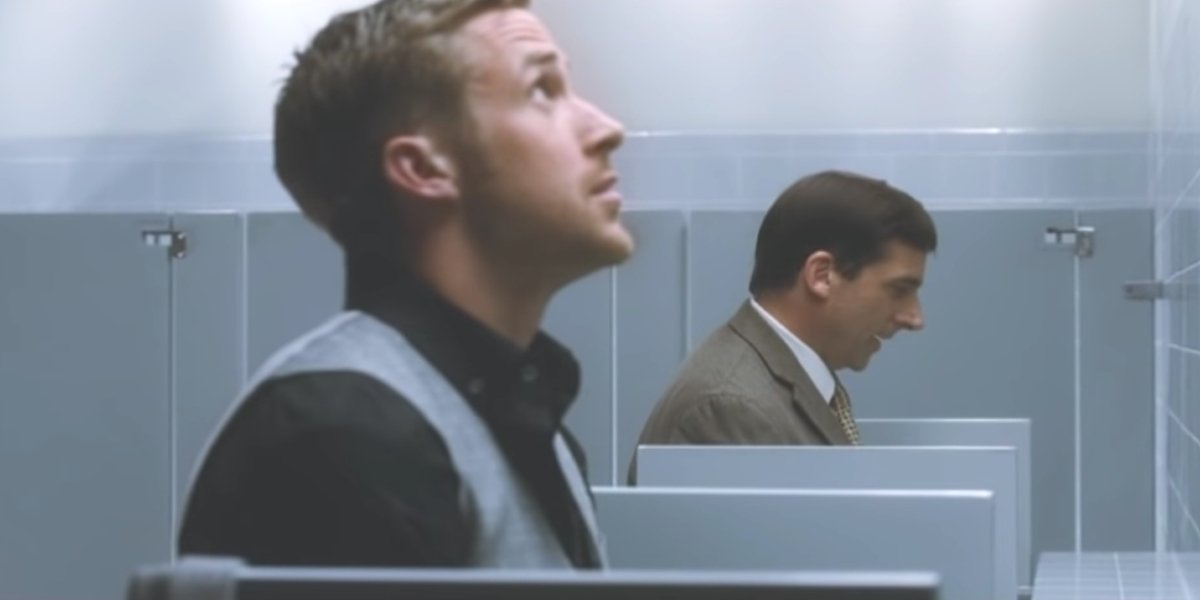 Ryan Gosling and Steve Carell in Crazy, Stupid, Love.