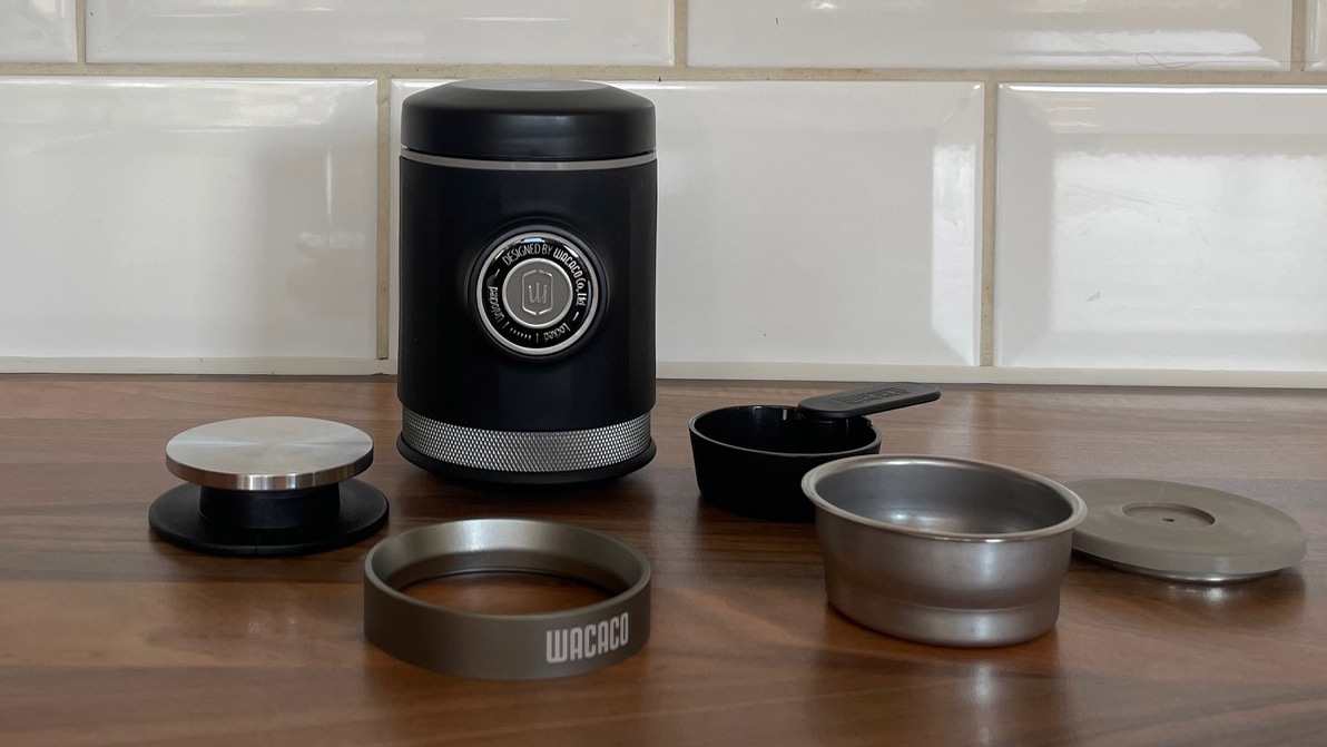 The Wacaco Picopress an all its components on a kitchen work surface