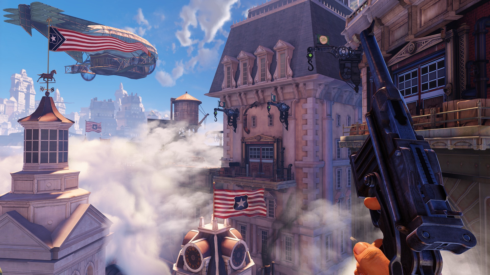 BioShock Infinite city of Columbia rooftop view in first-person