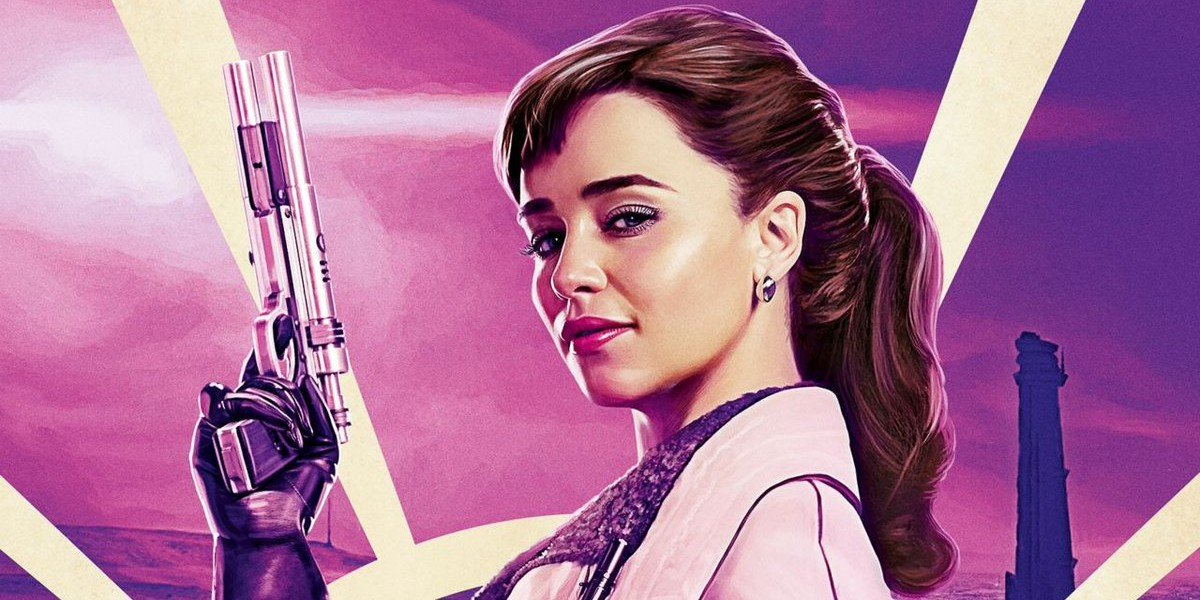 Qi'ra (Emilia Clarke) on Solo: A Star Wars Story poster