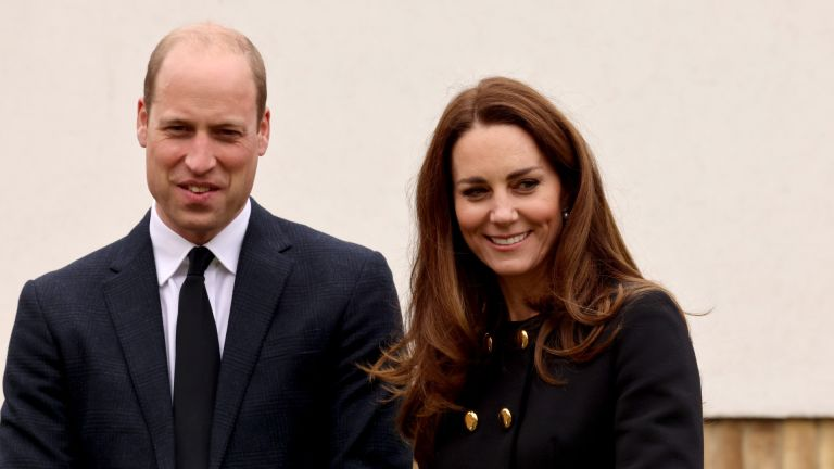 Prince William and Kate Middleton, Duchess of Cambridge, wearing black as a mark of respect following the Duke of Edinburgh's passing, visit 282 East Ham Squadron, Air Training Corps in East London on April 21, 2021 in London, England