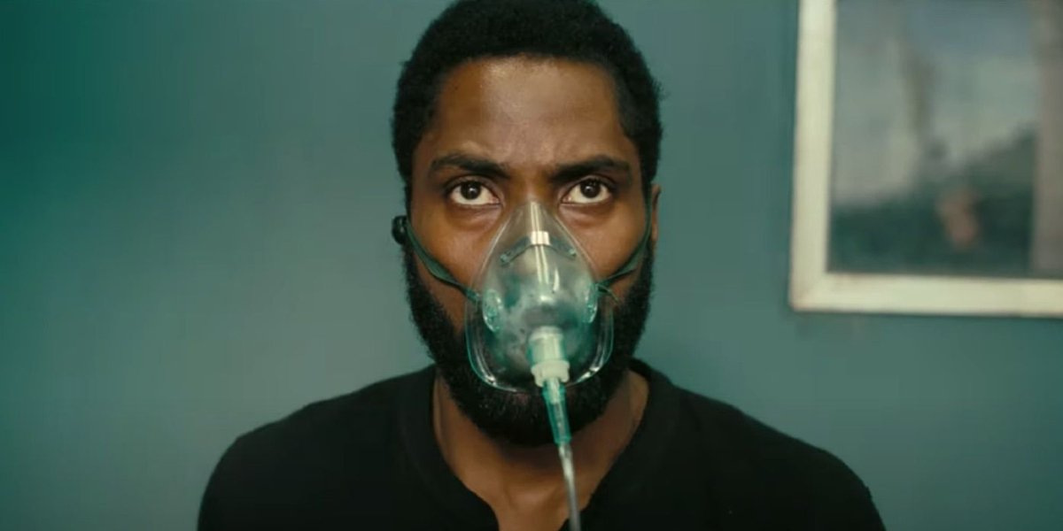 Tenet John David Washington wearing an oxygen mask