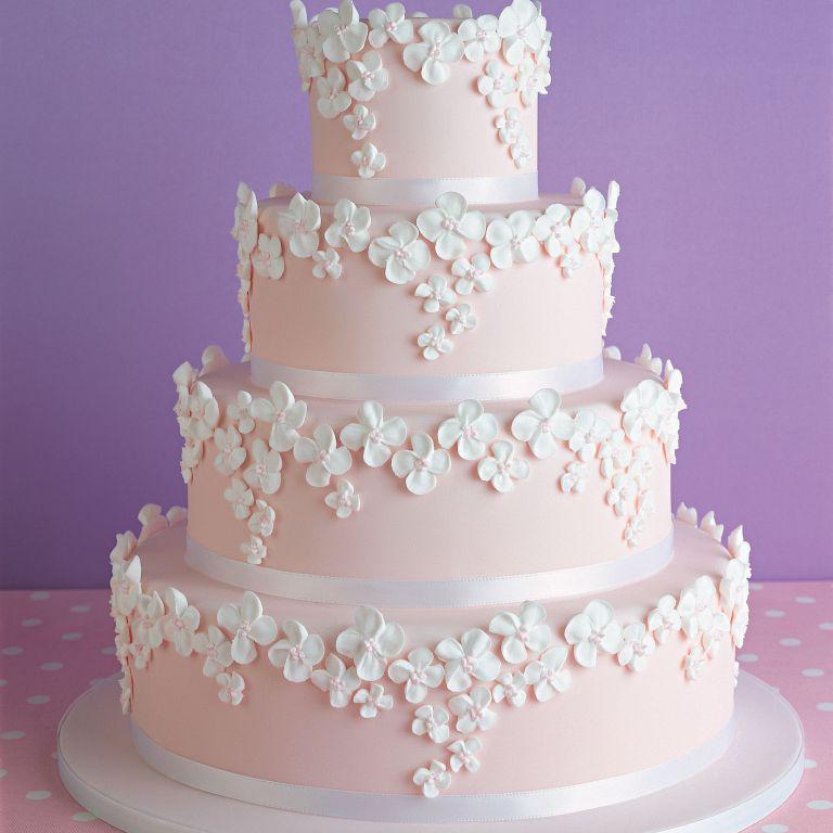 pink wedding cake photo