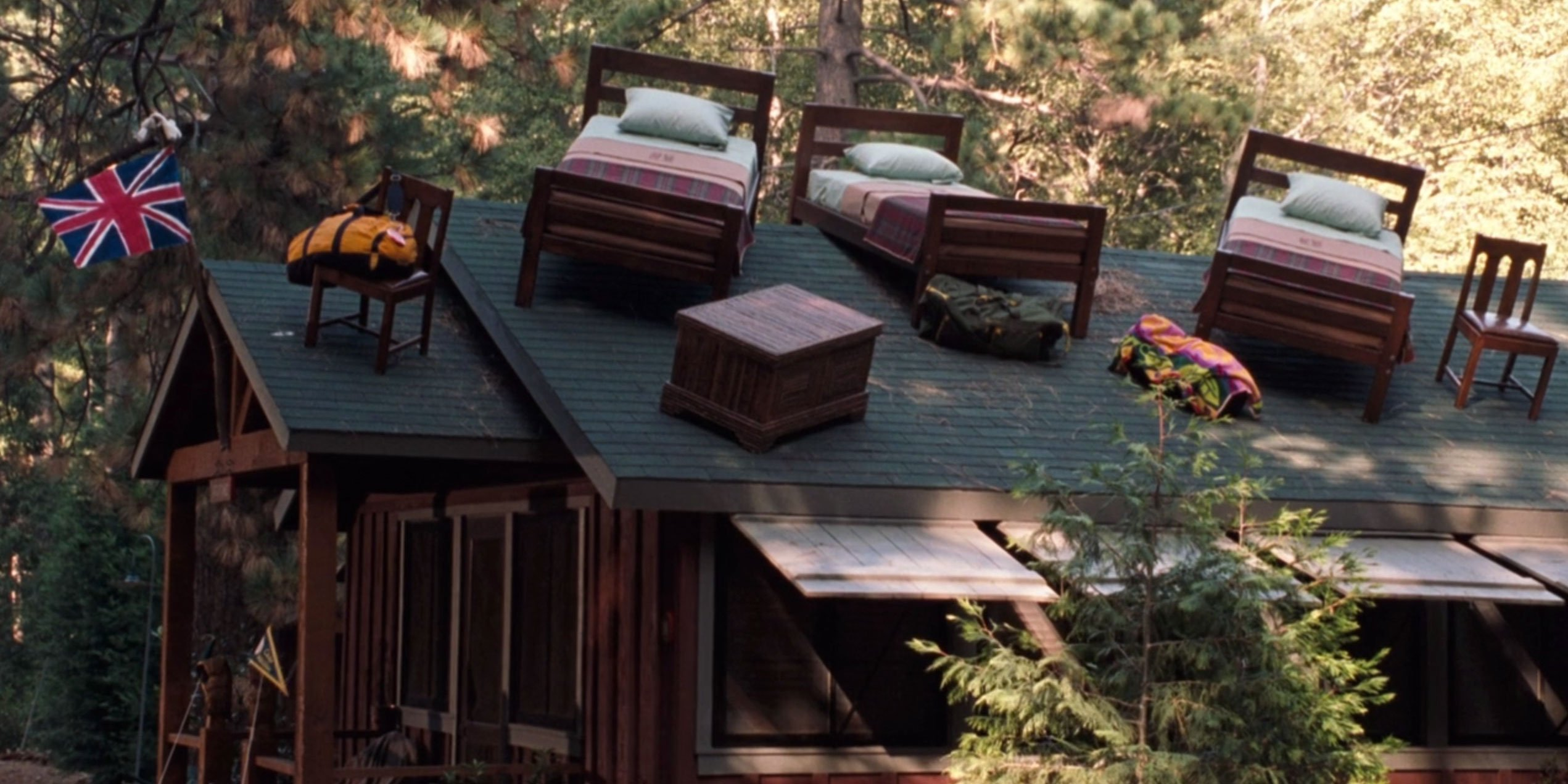 All the furniture on the roof as the prank war intensifies.