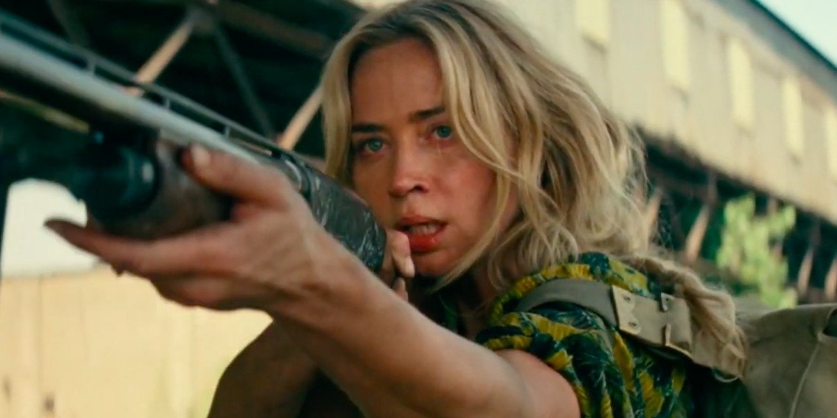 Emily Blunt anxiously holds a shotgun in A Quiet Place: Part II.