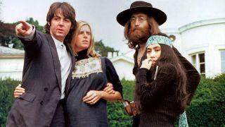 Paul and Linda McCarney with John Lennon and Yoko Ono