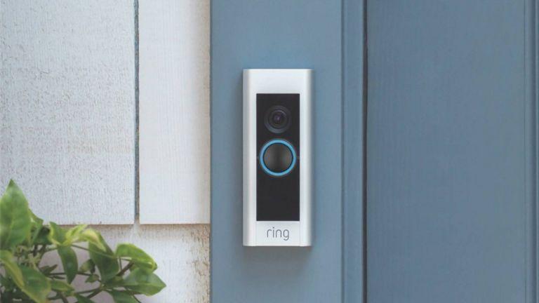 best smart doorbell: Ring Video Doorbell Pro mounted to blue door