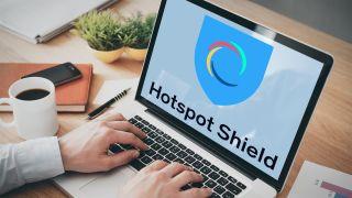 Hotspot Shield logo on laptop screen
