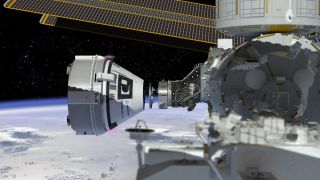 A Boeing CST-100 Starliner spacecraft approaches the International Space Station in this artist's concept image.