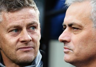 FILE PHOTO (EDITORS NOTE: COMPOSITE OF IMAGES - Image numbers 1178800802,1189532555 - GRADIENT ADDED) In this composite image a comparison has been made between Ole Gunnar Solskjaer, Manager of Manchester United (L) and Jose Mourinho, Manager of Tottenham Hotspur. Manchester United and Tottenham Hotspur meet in a Premier League fixture on December 4,2019 in Manchester,England. ***LEFT IMAGE*** THE HAGUE, NETHERLANDS - OCTOBER 03: Ole Gunnar Solskjaer, Manager of Manchester United looks on prior to the UEFA Europa League group L match between AZ Alkmaar and Manchester United at ADO Den Haag on October 03, 2019 in The Hague, Netherlands. (Photo by Bryn Lennon/Getty Images) ***RIGHT IMAGE*** LONDON, ENGLAND - NOVEMBER 23: Jose Mourinho, Manager of Tottenham Hotspur looks on during the Premier League match between West Ham United and Tottenham Hotspur at London Stadium on November 23, 2019 in London, United Kingdom. (Photo by Stephen Pond/Getty Images)