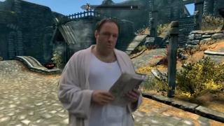 Tony Soprano reading the morning paper in Skyrim.
