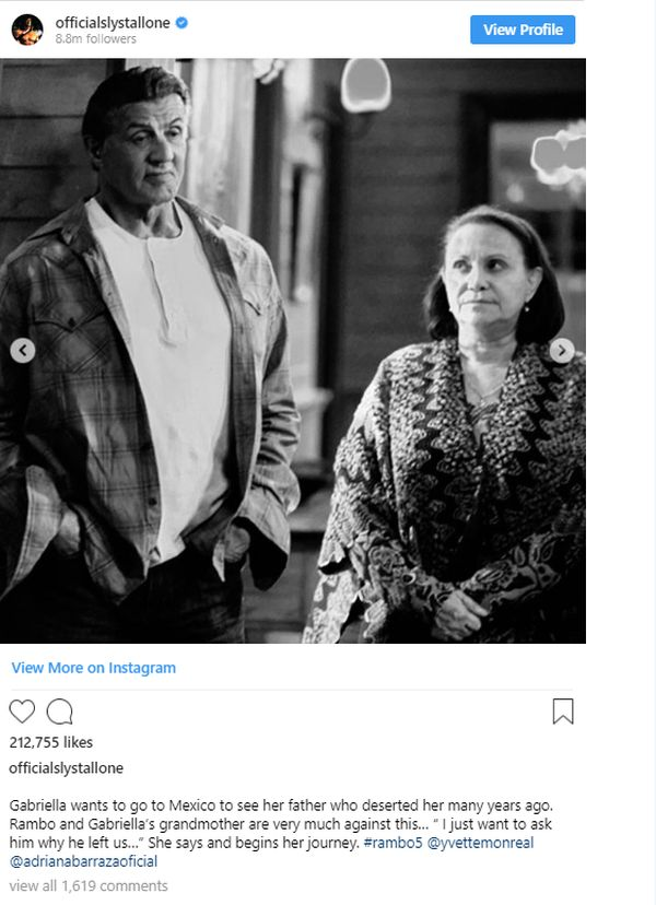 Rambo on Sylvester Stallone's Instagram