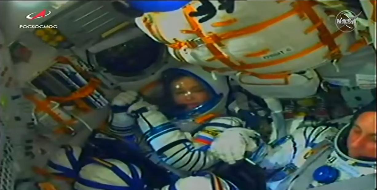 Yulia Peresild inside the Soyuz MS-18 spacecraft.