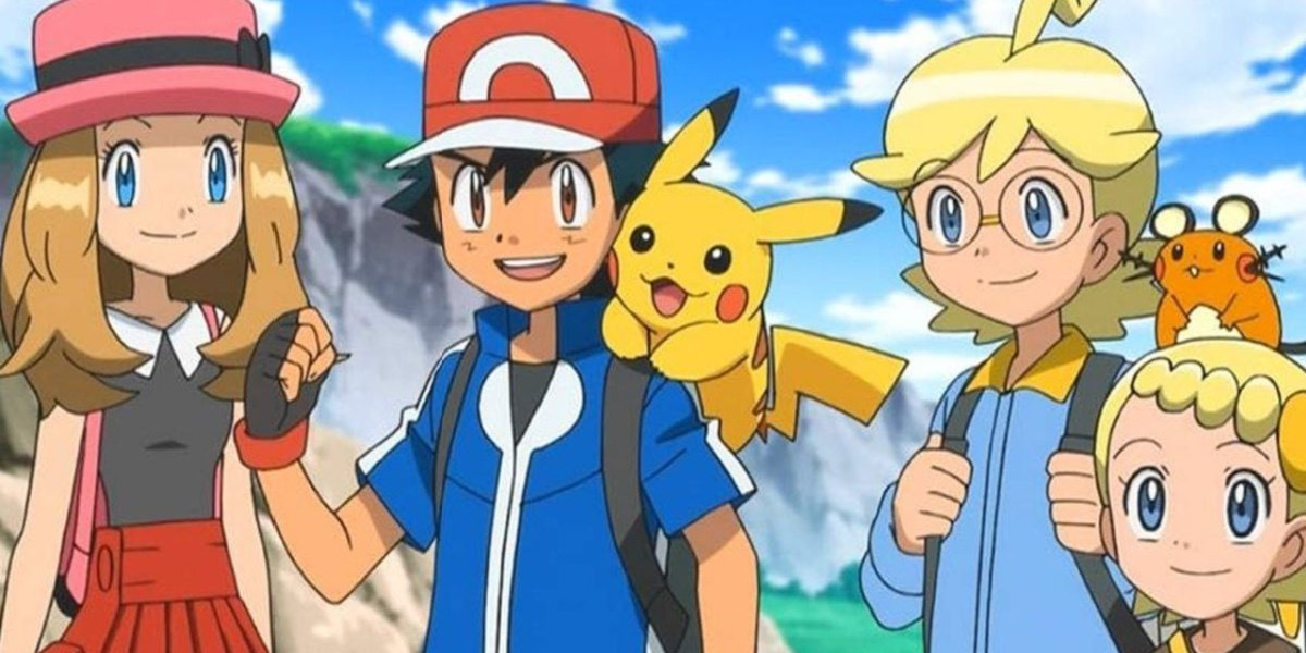 Ash with Serena, Clemont, and his little sister, Bonnie on their journey.