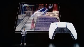 An Apple presentation showing the iPad Pro playing Devil May Cry connected to a PS5 DualSense controller